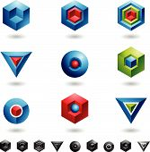 picture of geometric shapes  - Spheres Cubes triangles and three dimensional shapes - JPG