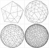 stock photo of tetrahedron  - From Icosahedron To The Ball Sphere Lines Vector - JPG