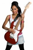 picture of young black woman  - Pretty young black rockstar playing her guitar - JPG