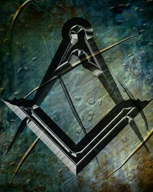 stock photo of freemasons  - Masonic square and compass with some soft highlights - JPG