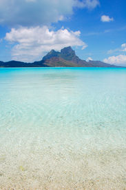 picture of french polynesia  - View of Bora Bora Island and lagoon from the beach of a private motu - JPG