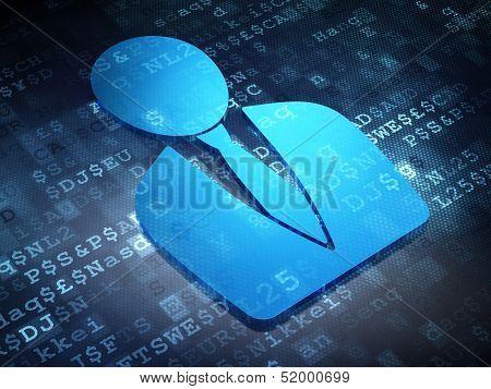 Business concept: Blue Business Man on digital background
