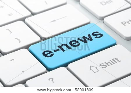 News concept: E-news on computer keyboard background