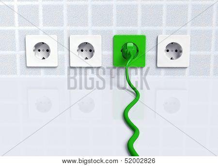 Ecological Green Plug Into A Socket