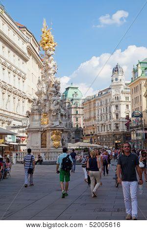 Tourists on foot Graben Street in Vienna Austria July 25.2013.