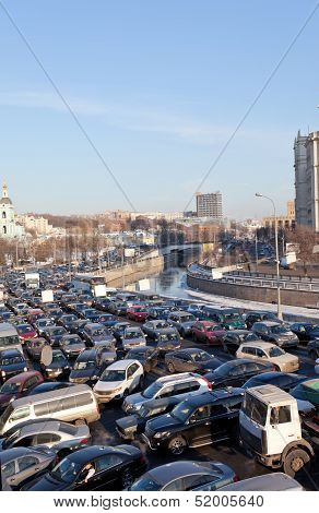 Big transport stopper 08.02.2012 Moscow Russia