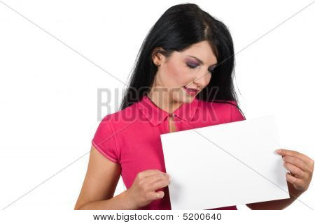 Attractive Woman Holding A Blank Page