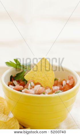 Close Up Of Salsa And Tortilla Chips
