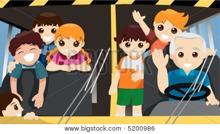 Kids Inside The School Bus