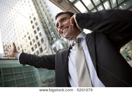 Businessman On His Cell In The City