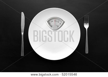 Dieting Concept - White Plate With Weight Scale