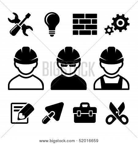Industrial worker icons set