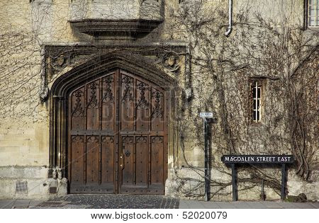 Oxford University - Ornamental Gate In Magdalen Street Covered With Ivy