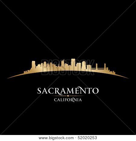 Sacramento California City Skyline Silhouette Black Background