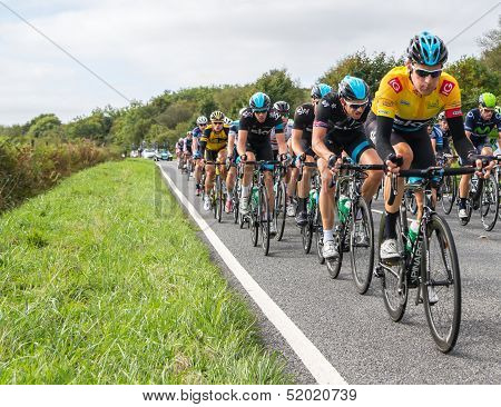 Honiton, Uk - September 20: Bradley Wiggins Wears The Ig Yellow Jersey As Current Tour Leader, In Th