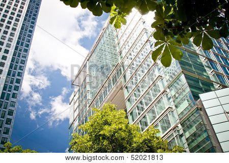Corporate Buildings In Canada Square, London