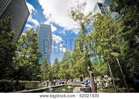 Jubilee Park At Canary Wharf, Docklands, London. Landscape