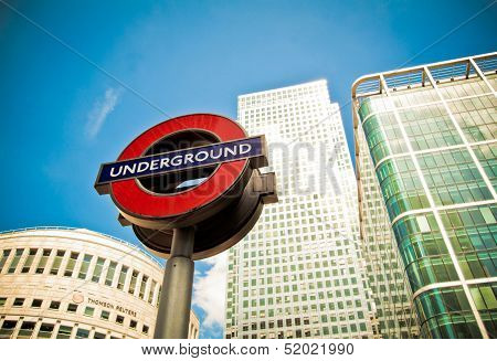 Underground Sign, Canary Wharf, London