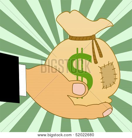 Sack With A Sign Dollars On A Hand, Illustration