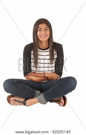 Beautiful Tongan Teenage Girl Sitting With White Background