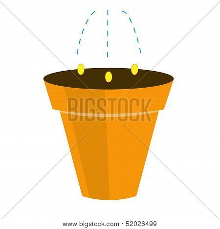 Landing Of Plant By Seed In A Pot, Illustration