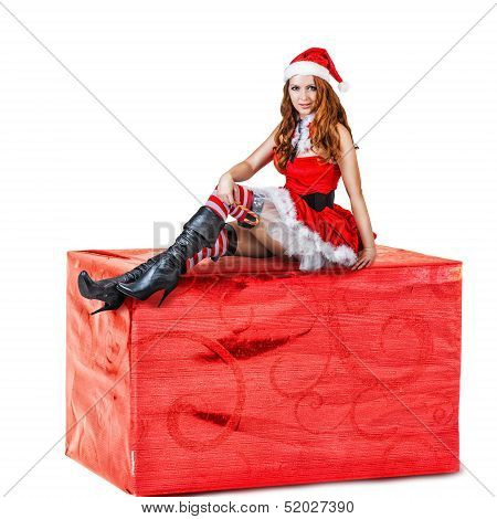 Sexy Woman Wearing Red Santa Claus Clothes