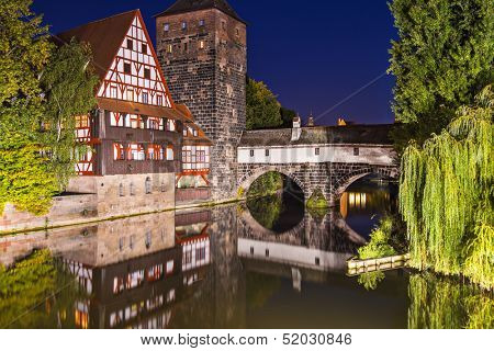 Executioner's bridge at night, Nuremberg, Germany
