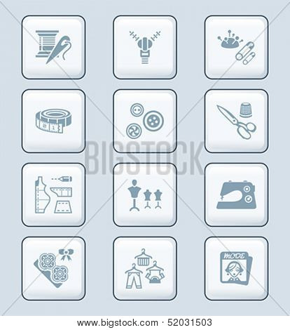 Fashion industry sewing tools and objects icon-set