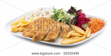 Chicken schnitzel with salad and pasta on the side isolated on white background