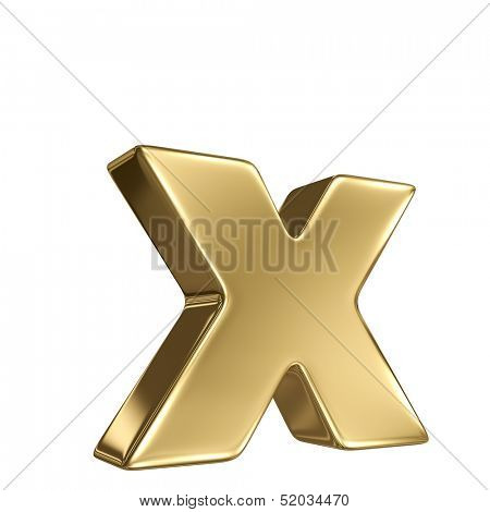 Letter x from gold solid alphabet