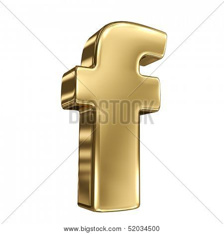 Letter f from gold solid alphabet
