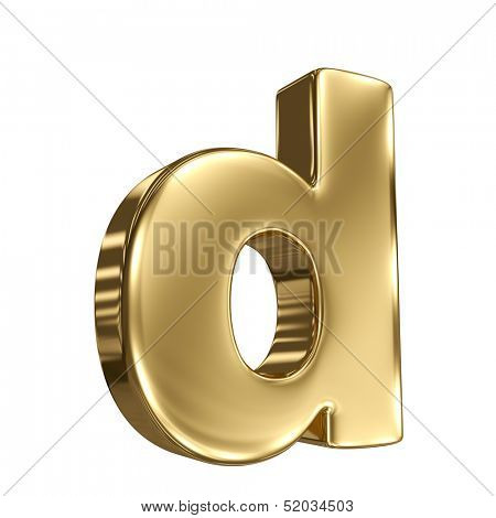 Letter d from gold solid alphabet