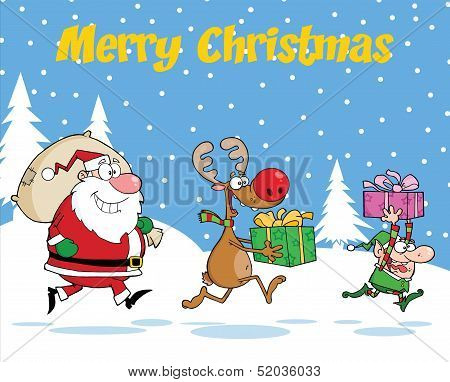 Merry Christmas Greeting With Reindeer, Elf And Santa Claus Carrying Christmas Presents
