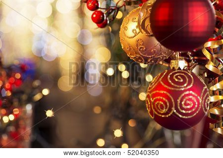 Christmas and New Year Decoration. Bauble on Christmas Tree. Shallow DOF