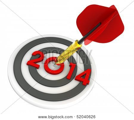 Dart hitting target - New Year 2014. Computer generated 3D  rendering.