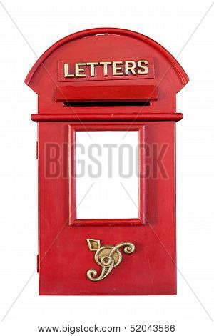 Retro Red Letterbox, Isolated On White Background With Clipping Paths And Copyspace