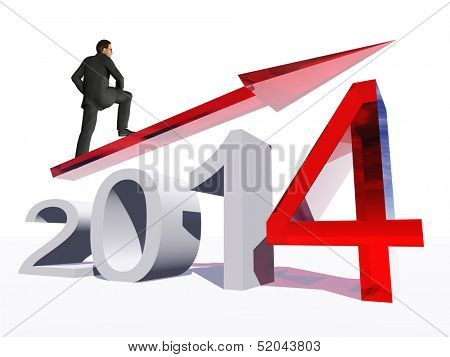 Conceptual 3D  human,man or businessman standing over an red 2014 year symbol with an arrow isolated on white background