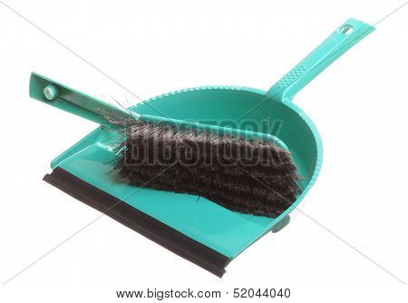 Green Sweeping Brush And Dustpan Isolated - Housework