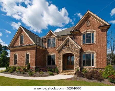Model Luxury Home Exterior Clouds Side View