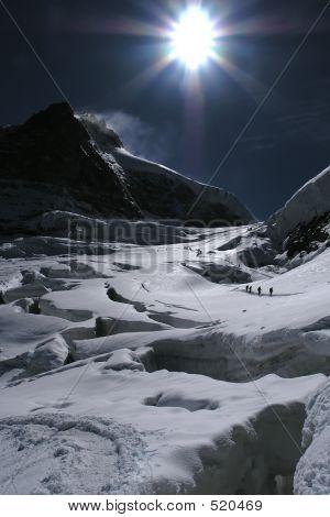 Mountain Glacier With Cracks