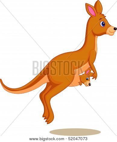 Cartoon Mother and baby kangaroo