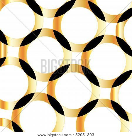 Golden background with composition of circles