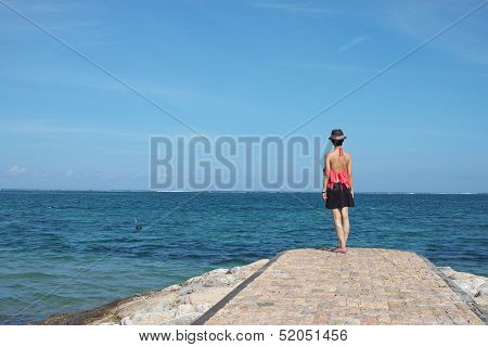 Beauty Standing On Beach