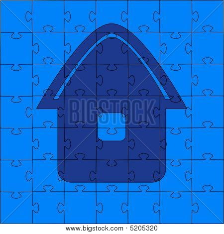 Puzzles - The House. Vector Illustration