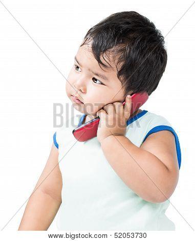 Cute Asian Boy Using Mobile Phone