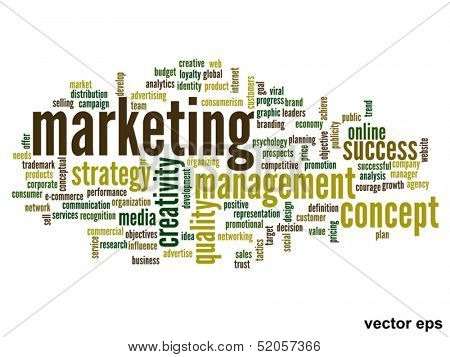 Vector eps concept or conceptual abstract marketing word cloud or word-cloud isolated on white background