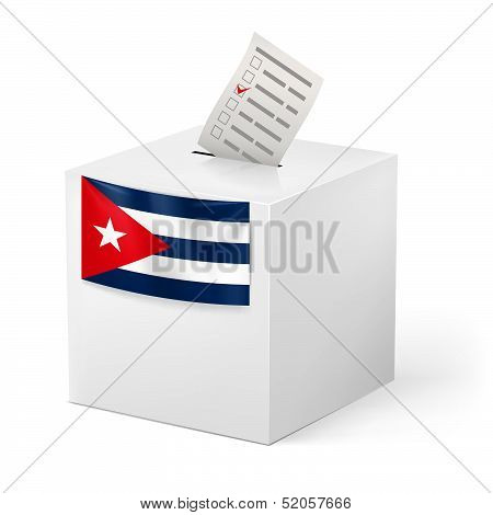 Ballot box with voicing paper. Cuba.