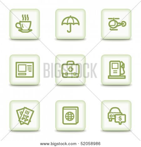 Travel web icons set 4, white glossy buttons