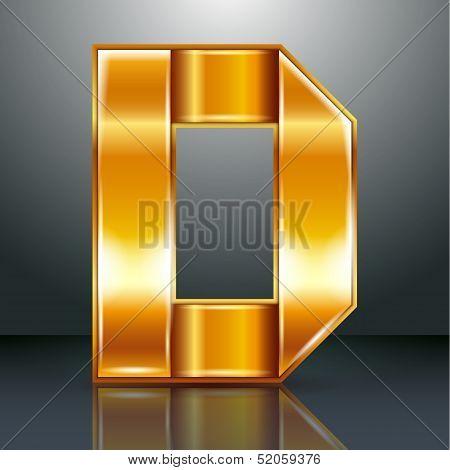 Letter metal gold ribbon - D