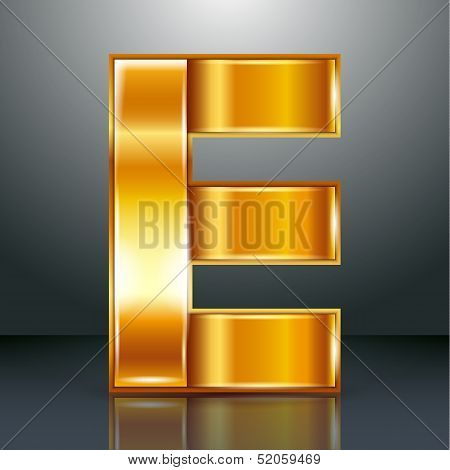 Letter metal gold ribbon - E
